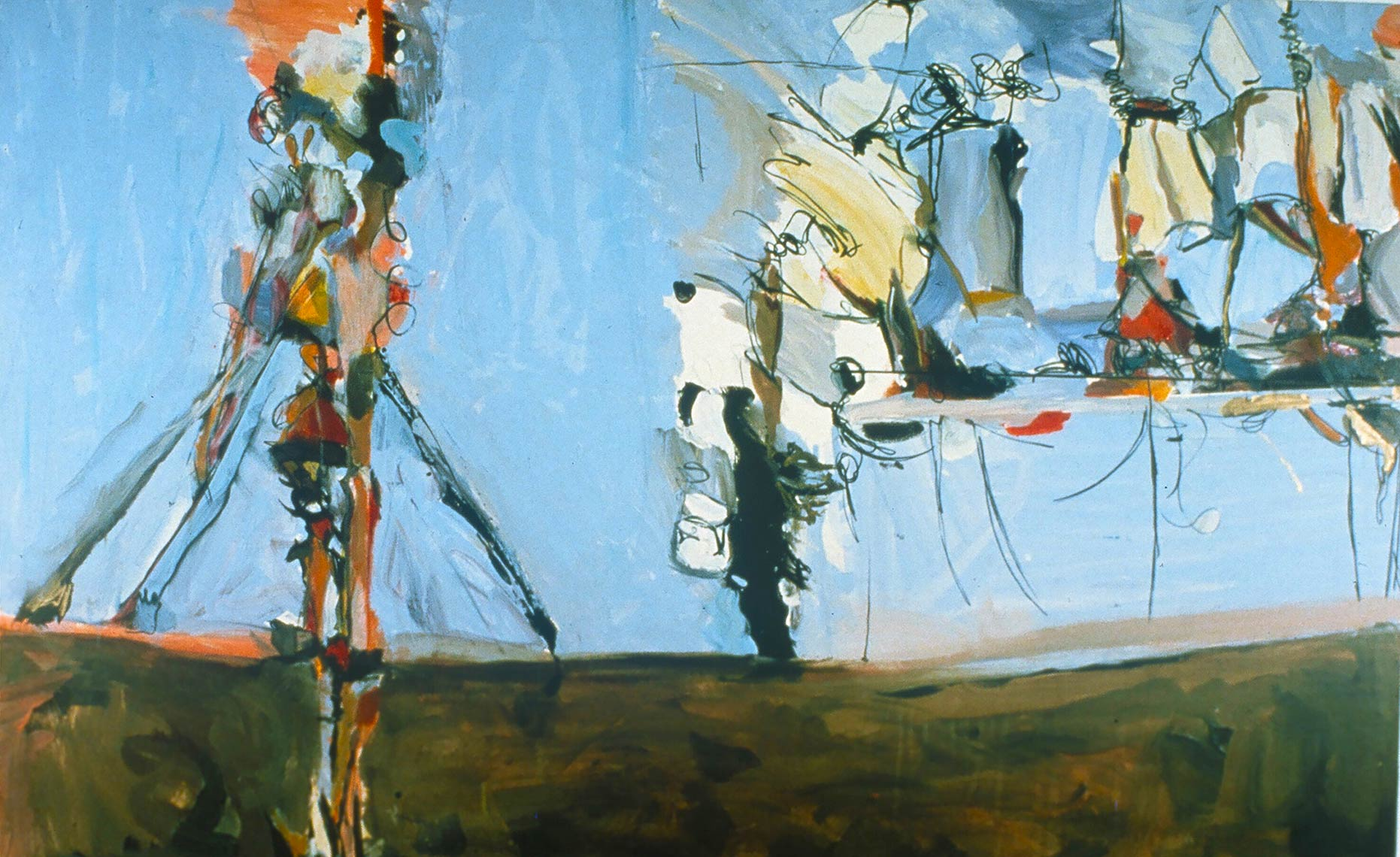 Dancing-on-a-Tar-Covered-Terrace-1986-Acrylic-on-canvas-46-x-84-inches1986