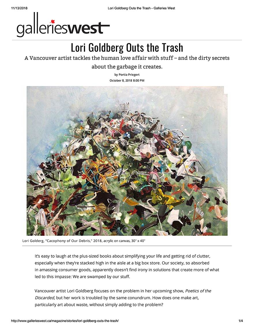 Lori Goldberg Outs the Trash - Galleries West
