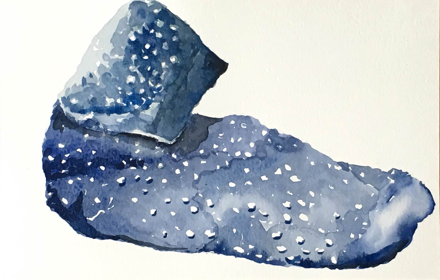 Lost-Sock--Blue-Nubbly-2016-Watercolor-on-rag-paper-6x10-inches