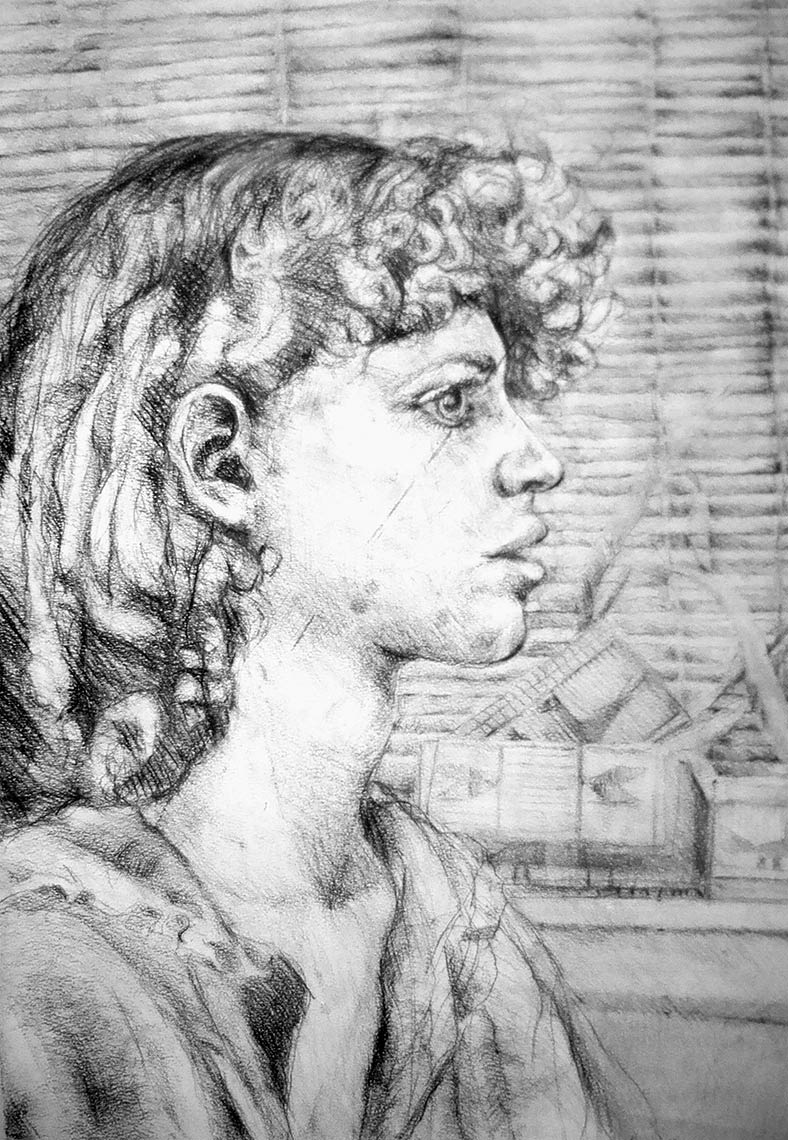 Self-Portrait-1979-charcoal-on-paper-30-x-22
