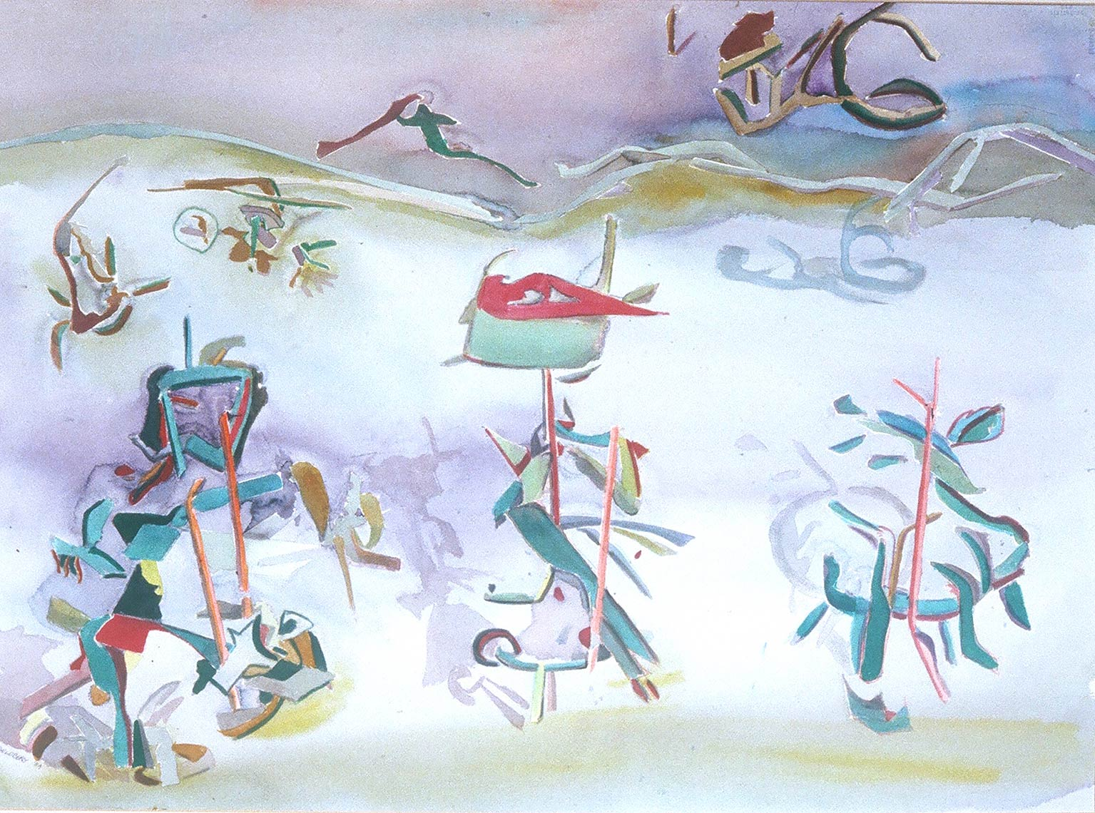 Shadow-Puppets-on-a-Walk-1985-Watercolour-on-rag-paper-22x30-inches
