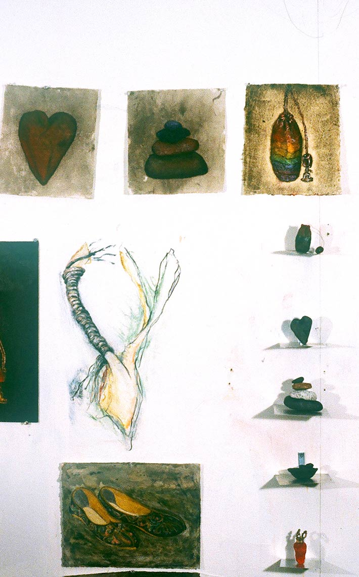 Studio-Wall-Installation-Objects-Acrylic-on-paperclayconte-crayon-